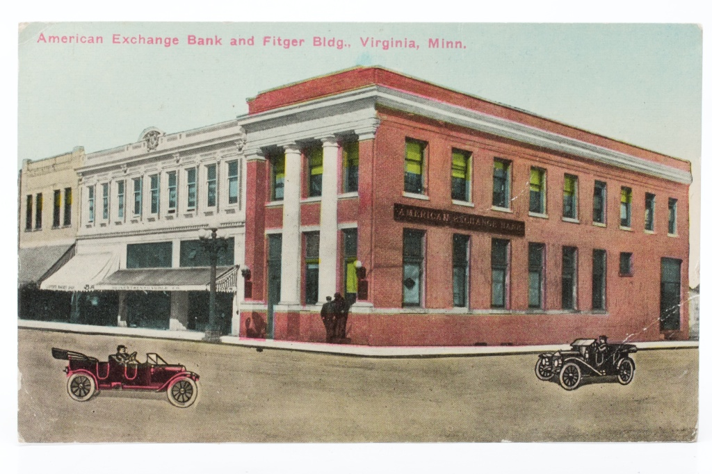Postikortti, American Excange Bank and Fitger Bldg., Virginia, M